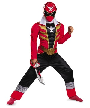 Red Ranger Super Megaforce Muscle Boys Costume