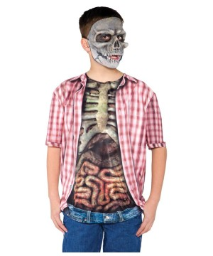 Red Skeleton Shirt Boys Costume