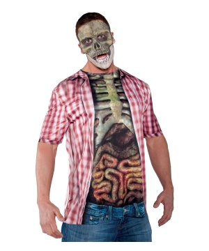 Red Skeleton Shirt Mens Costume