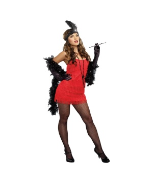 Roaring Red Flapper plus size Womens Costume