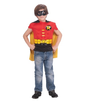 Robin Shirt and Cape Boys Muscle Costume