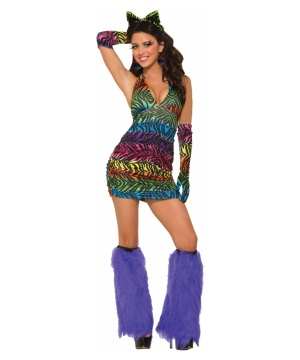 Sexy Zebra Rave Halter Dress Womens Costume