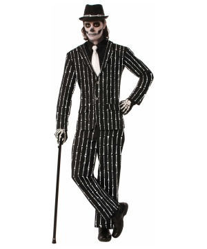 Skeleton Pinstripe Suit Costume