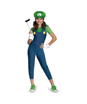 Super Mario Brothers Luigi Girl Tween Costume
