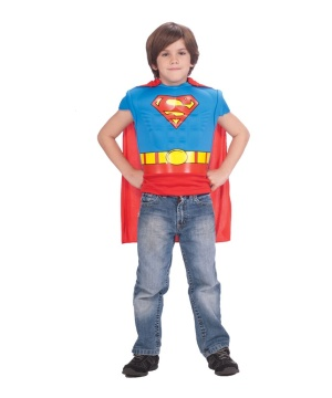 Superman Muscle Shirt With Cape Boys Costume