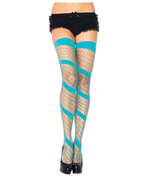 Diamond Swirl Neon Blue Thigh High Tights