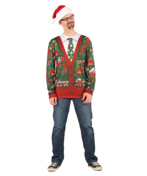 Ugly Christmas Cardigan Mens Costume Shirt