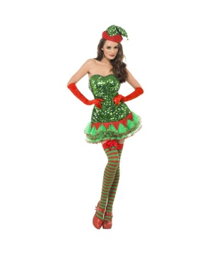 Womens Sequined Elf Dress Costume
