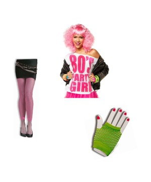 80s White and Pink Neon Party Girl Womens Accessory Kit