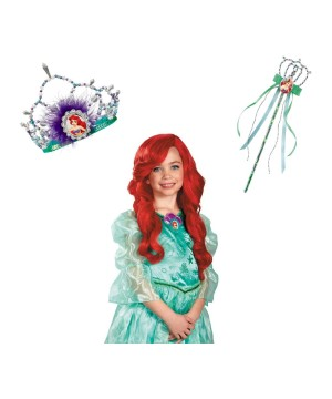 Ariel Tiara Wig and Wand Set
