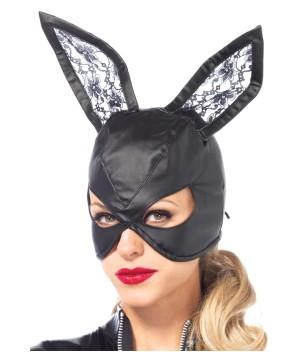 Black Leather Bunny Mask