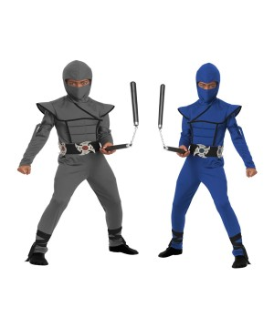 Blue and Grey Stealth Ninja Boys Costumes