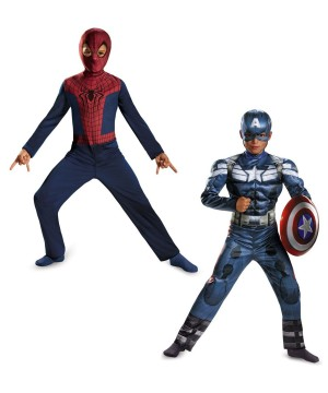 Captain America and Spiderman Boys Movie Costumes