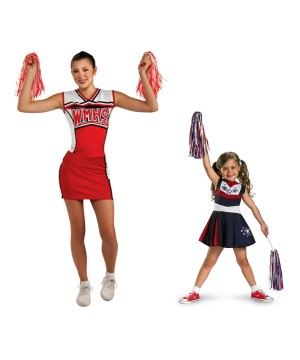 Cheerleader Woman and Girl Costume Set