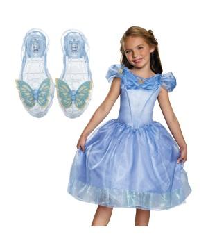 Cinderella Movie Girls Costume and Slippers Gift Set