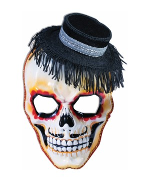 Day of the Dead Senor Skull Mens Mask With Hay Hat