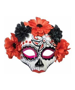 Day of the Dead Skull Flower Mens Mask