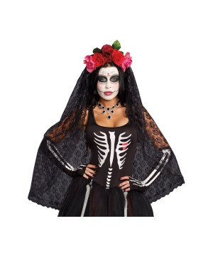 Day of the Dead Bride Veil Headpiece