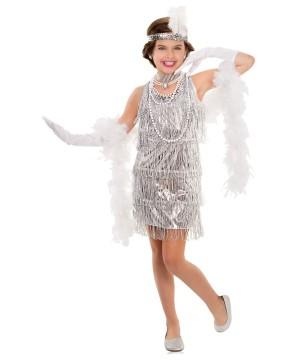 Dazzling Silver Flapper Girls 1920s Costume