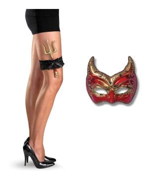 Devil Venetian Masquerade Mask and Pitchfork