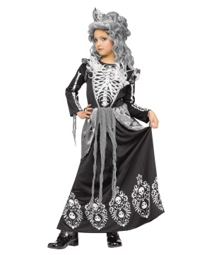Elegant Skeleton Queen Girls Costume