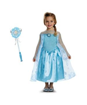 Disney Frozen Elsa Toddler Girls Costume and Wand Set