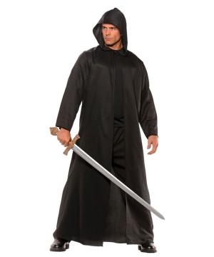 Faux Leather Black Cloak Mens Costume