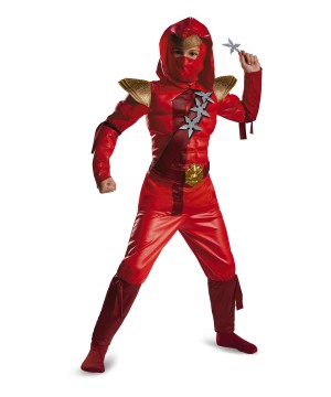 Fiery Red Ninja Boys Muscle Costume