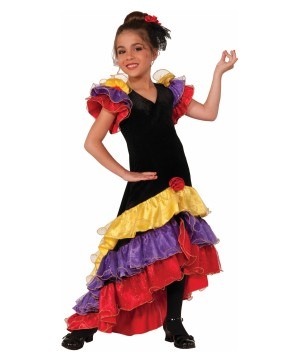 Flamenco Senorita Spanish Dancer Girls Costume