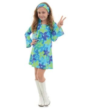 Flower Power Disco Hippie Girls Costume