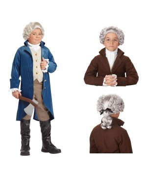 George Washington Boys Costume and Wig