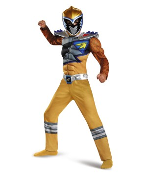 Gold Power Ranger Dino Charge Boys Muscle Costume