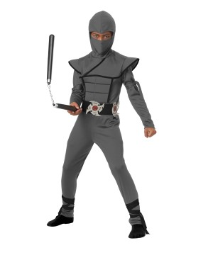 Grey Stealth Ninja Boys Costume