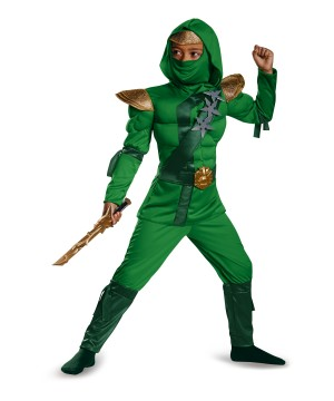 Hope Green Ninja Master Boys Muscle Costume