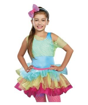 Lime Green Dancewear Girls Fishnet Crop Top