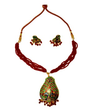 Ethnic Peacock Pear Shaped Jewelry Set