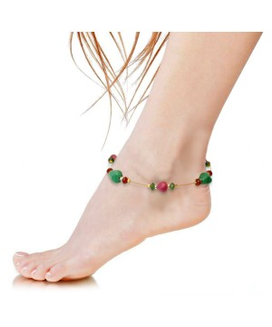 Plum Red and Green Brass Payal Gypsy Anklet