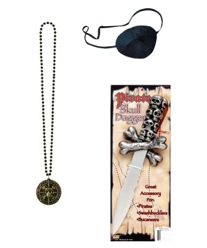 Pirate Eye Patch Dagger and Coin Medallion Necklace