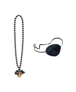 Pirate Necklace and Eye Patch Set