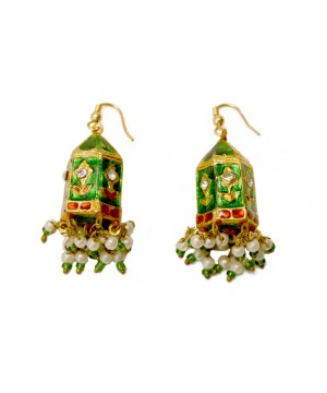 Red and Green Bali Fashion Earrings