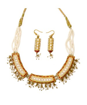 Elegant Red and White Indian Jewelry Set