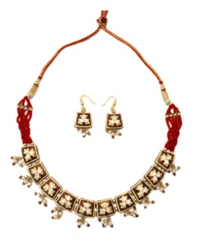 Jaipuri Red and White Lacquer Indian Jewelry Set