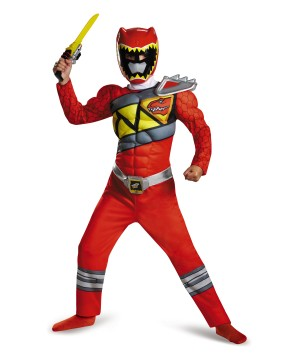 Red Power Ranger Dino Charge Boys Muscle Costume
