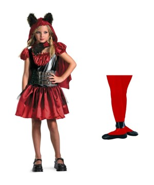 Little Red Riding Hood Rage Girls Costume and Red Tights Set