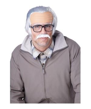 Rude Grandpa Forehead Wig and Mustache Costume Accessory Set