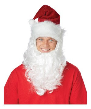Santa Claus Getup Hat With Attached Beard Set