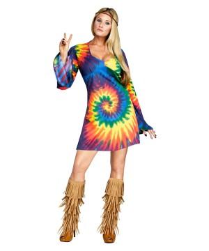 Tie Dye Hippie Dress Womens Costume
