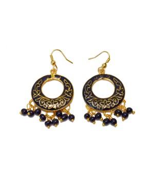 Fancy Black Traditional Design Indian Earrings