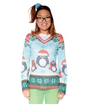Ugly Christmas Winter Penguin Women Sweater Shirt