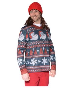 Ugly Santa Striped Christmas Sweater Shirt